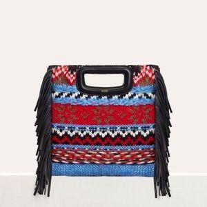 Maje Patterned Knit & Leather Fringe 'M' Bag
